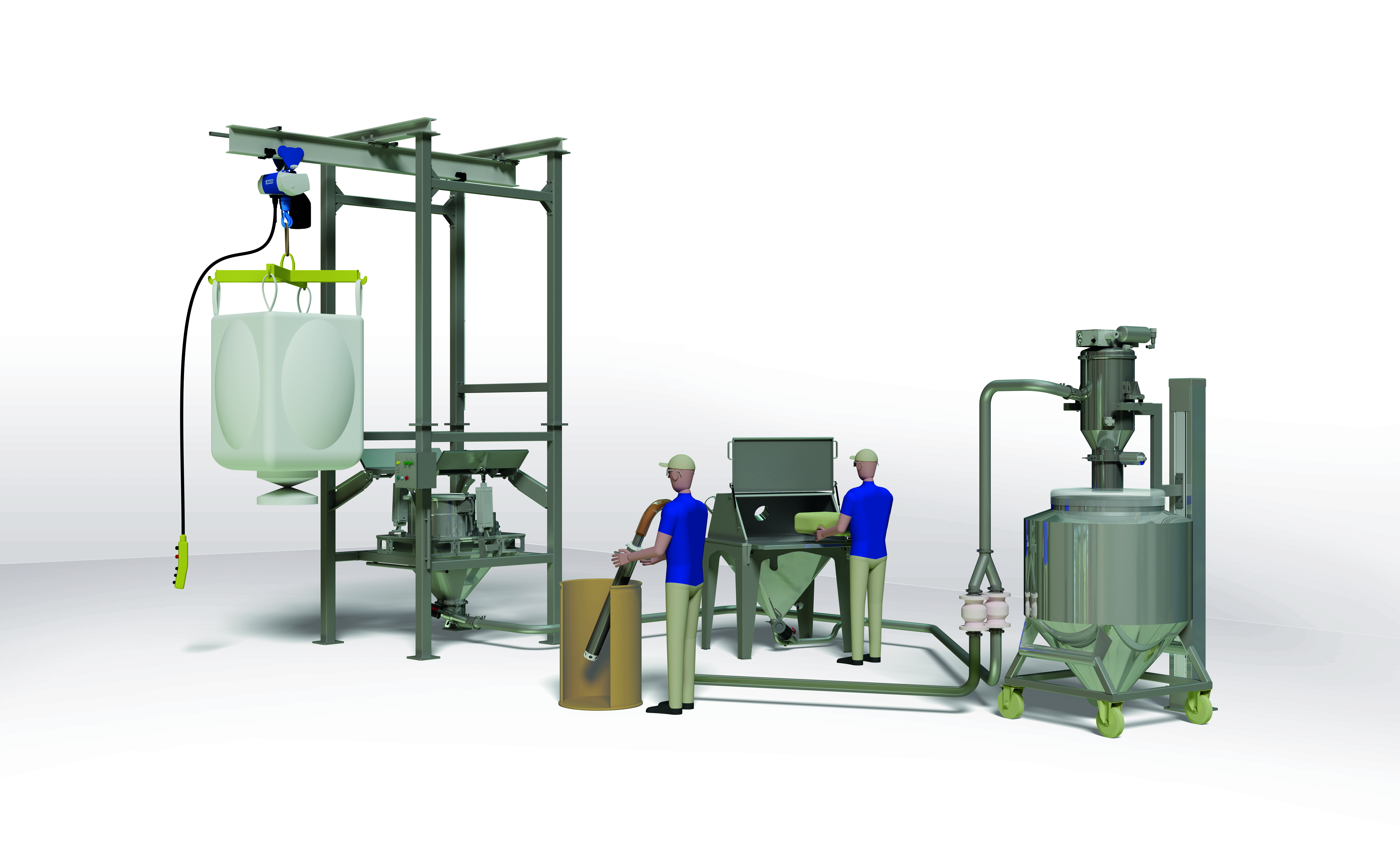 Aufgabe und Abgabesysteme beim Vakuumförderer